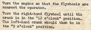 Timing instructions for the Davies Charlton.