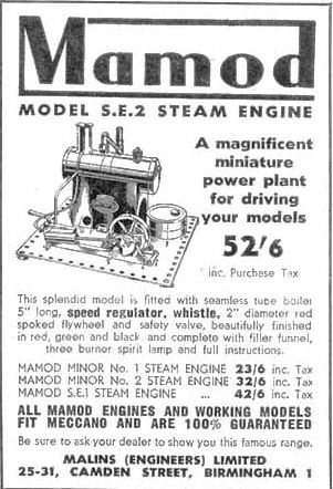 Mamod SE2 Steam Engine Advertisment Circa 1951.