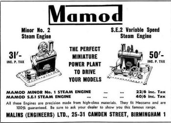 Mamod advert from December 1953.