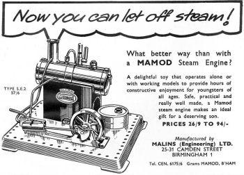 Mamod SE2 Steam Engine Advertisment Circa 1960.