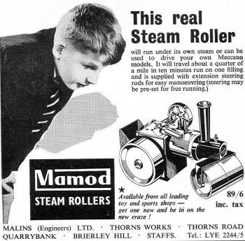 Mamod steam roller advertisement.