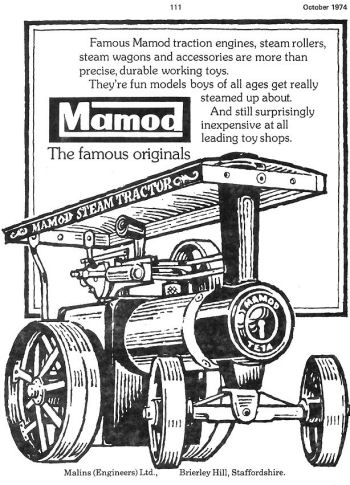 Mamod traction engine advertisement.