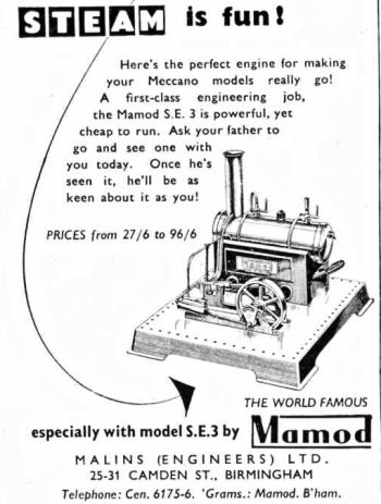 Mamod SE3 steam engine advert.