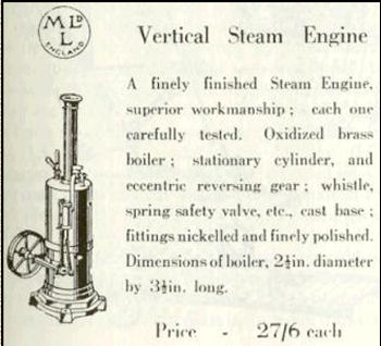Meccano steam engine advertisement.