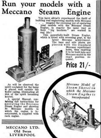 Meccano 1929 steam engine advertisement.